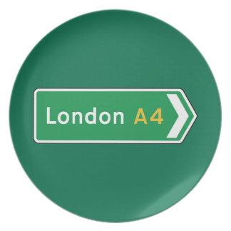 Londres señal de tráfico BRITÁNICA Plato De Comida
