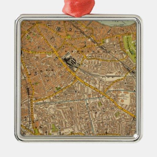 Londres suroriental adorno navideño cuadrado de metal