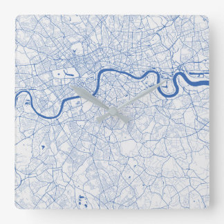Londres Urban Pattern Clock BLUE Reloj Cuadrado
