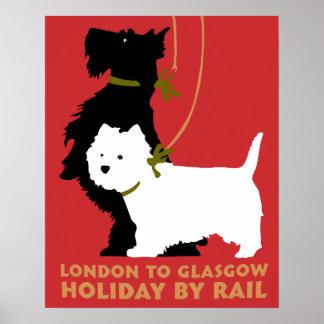 Londres y Glasgow retros en tren, terrieres de los Póster