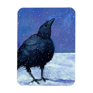 Lone Baby Crow in the Snow: Oil Pastel Painting Rectangle Magnets