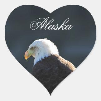 Lone Bald Eagle; Alaska Heart Sticker