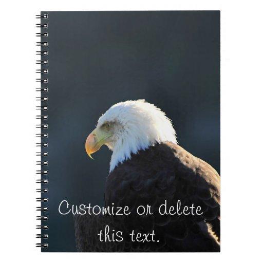 Lone Bald Eagle; Customizable Spiral Notebook