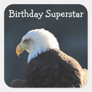 Lone Bald Eagle; Happy Birthday Square Sticker