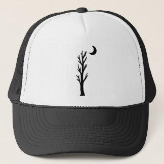 Lone Barren Black Tree Black Crescent Moon Trucker Hat