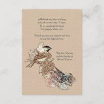 Lone Bird Bereavement Thank You Notecard (3.5 x 5)