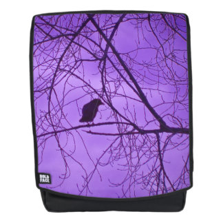 Lone Black Crow in Black Silhouette Tree Branches Backpack