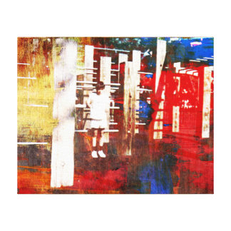 Lone Child in Playground Colorful Modern Art Canvas Print