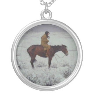 Lone Cold Brave Round Pendant Necklace