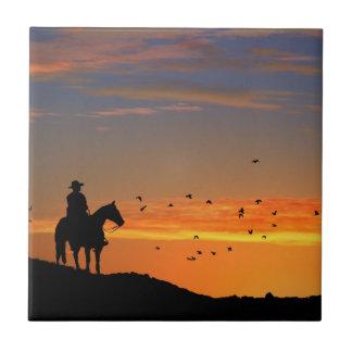 Lone Cowboy Art Tile