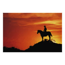 LONE COWBOY SUSET POSTER