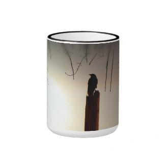 Lone Crow At Sunset Ringer Mug