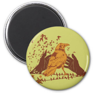 Lone Crow Illustration 2 Inch Round Magnet