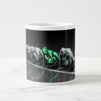 Lone Female Competing Against Males in a Race Large Coffee Mug