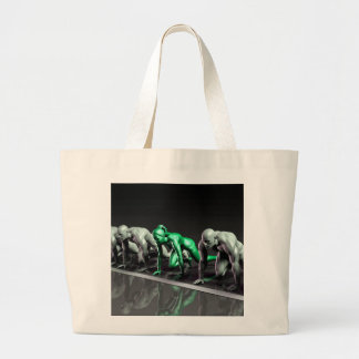 Lone Female Competing Against Males in a Race Large Tote Bag