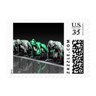 Lone Female Competing Against Males in a Race Postage