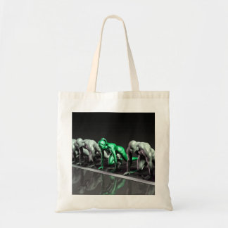 Lone Female Competing Against Males in a Race Tote Bag