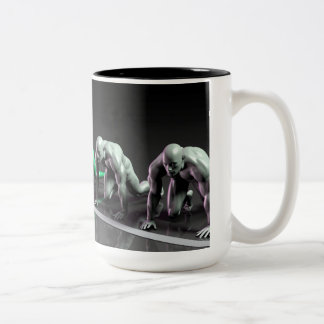 Lone Female Competing Against Males in a Race Two-Tone Coffee Mug
