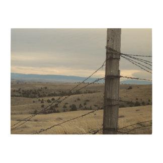Lone Fence Post Wood Print