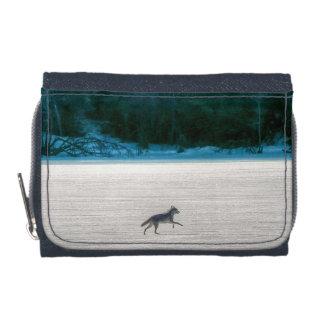 Lone Grey Wolf Running on A Frozen Lake Wallets