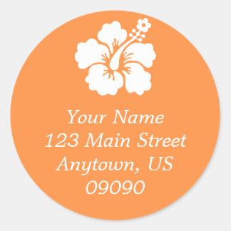 Lone Hibiscus Flower Address Label (Orange) Classic Round Sticker