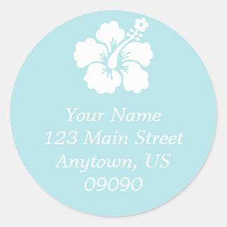 Lone Hibiscus Flower Address Label (Pale Blue) Classic Round Sticker