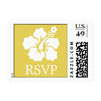 Lone Hibiscus Postage Stamp (RSVP Mustard Yellow)