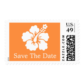 Lone Hibiscus Postage Stamp (Save The Date Orange)