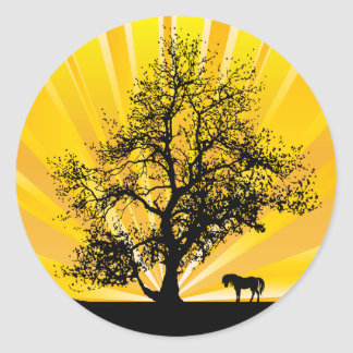 LONE HORSE AND OAK TREE STICKERS