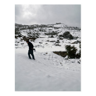 Lone Man Walking in Mountain Snow (Himalayas) Postcard