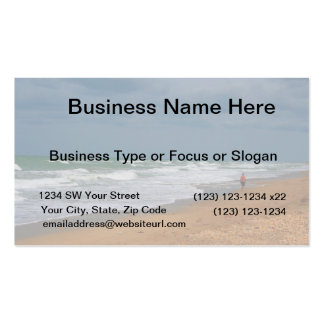 Lone Man Walking on Stormy Beach Business Card Templates