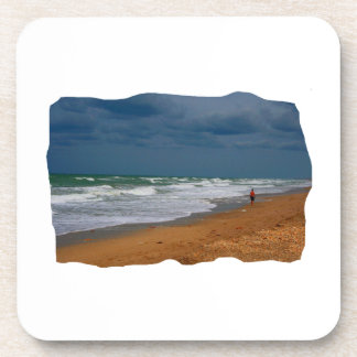 Lone Man Walking on Stormy Beach Cropped Beverage Coasters