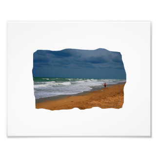 Lone Man Walking on Stormy Beach Cropped Photo Print