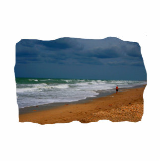 Lone Man Walking on Stormy Beach Cropped Photo Cut Out