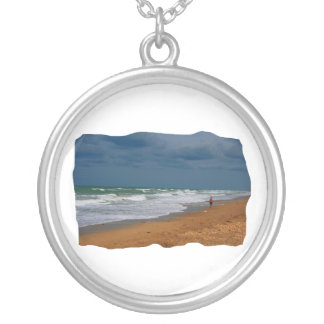 Lone Man Walking on Stormy Beach Cropped Silver Plated Necklace