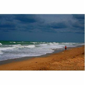 Lone Man Walking on Stormy Beach Acrylic Cut Out