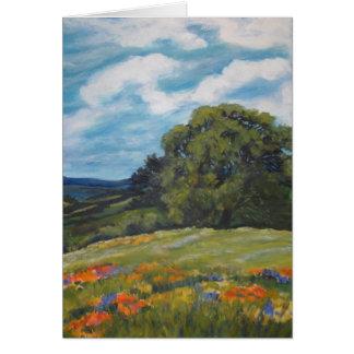 Lone Oak Hillside with Wildflowers CARD