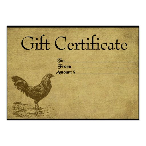 Lone ol39 rooster prim gift certificate cards zazzle for Zazzle gift certificate