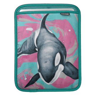 Lone Orca whale Marble Teal Pink iPad Sleeve