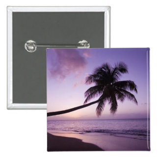 Lone palm tree at sunset, Coconut Grove beach 2 2 Inch Square Button