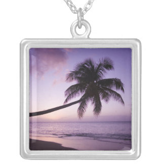 Lone palm tree at sunset, Coconut Grove beach 2 Silver Plated Necklace