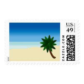 lone palm tree postage stamp