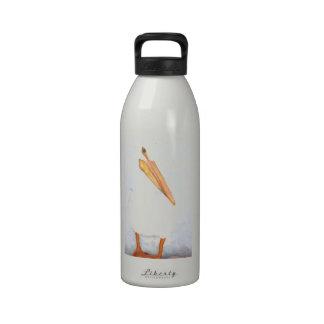 Lone Pelican Colored Pencil Original Artwork Reusable Water Bottle