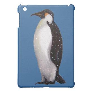 Lone Penguin in Snow: Oil Pastel Art iPad Mini Covers