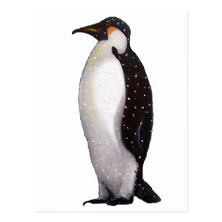 Lone Penguin in Snow: Oil Pastel Art Postcard