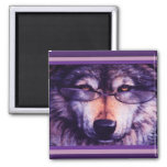 Lone Purple Wolf 2 Inch Square Magnet