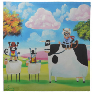 Lone ranger cats and sheep painting cloth napkin
