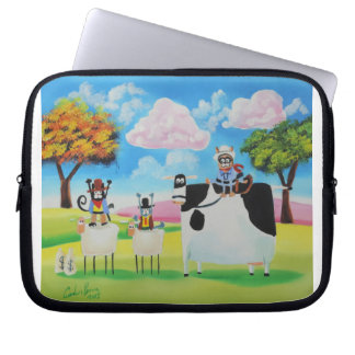 Lone ranger cats and sheep painting computer sleeve