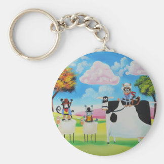 Lone ranger cats and sheep painting keychain