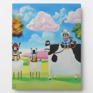 Lone ranger cats and sheep painting plaque